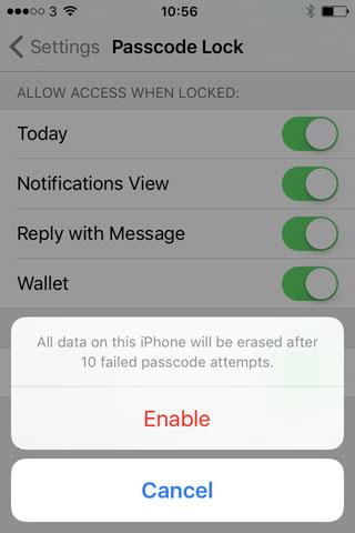 Включаем ограничение попыток ввода пароля